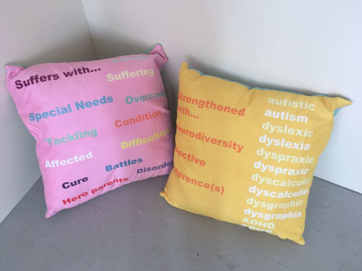 Language Cushions. Negative and Positive words.