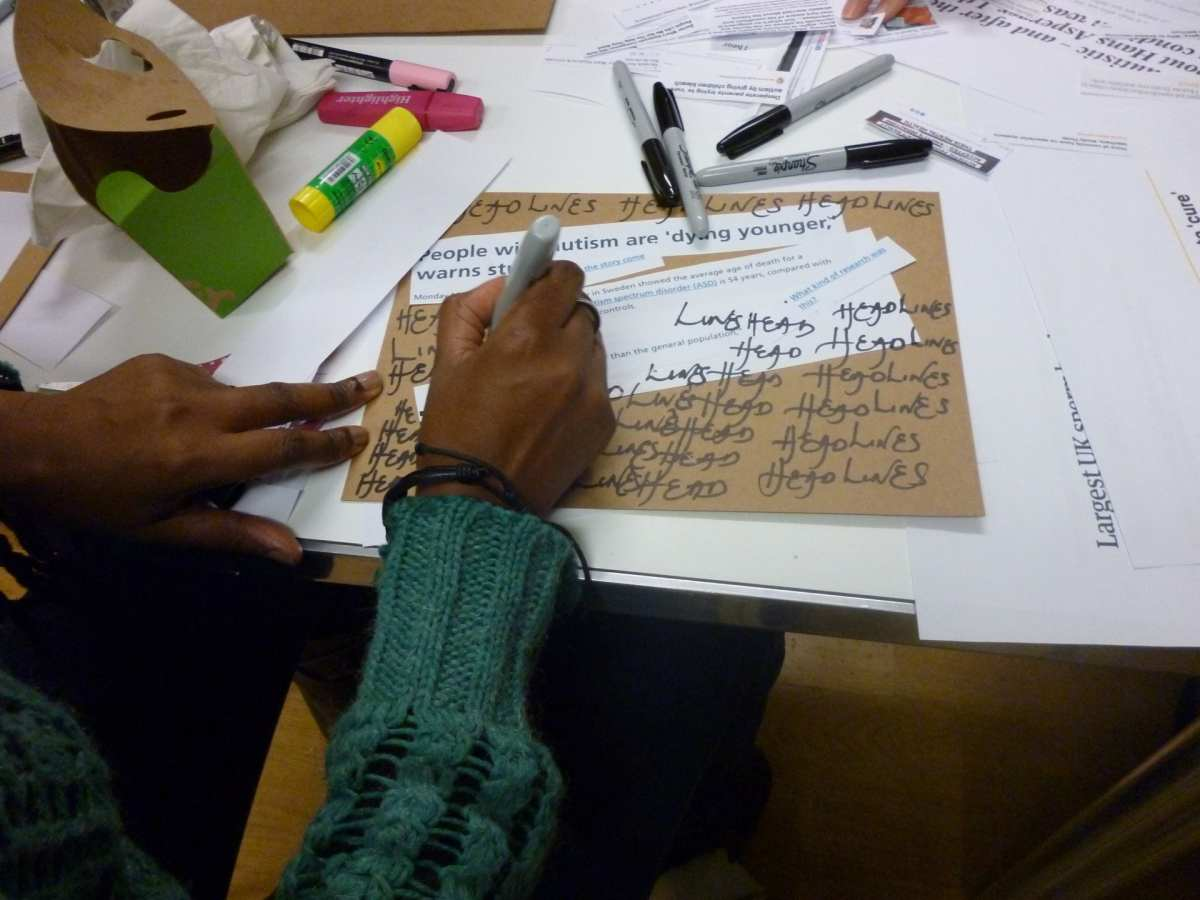 Participants creating their protest sign.