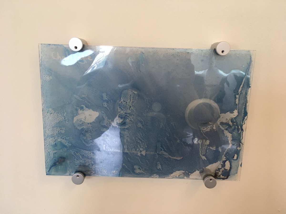 Charitable cyanotype on glass