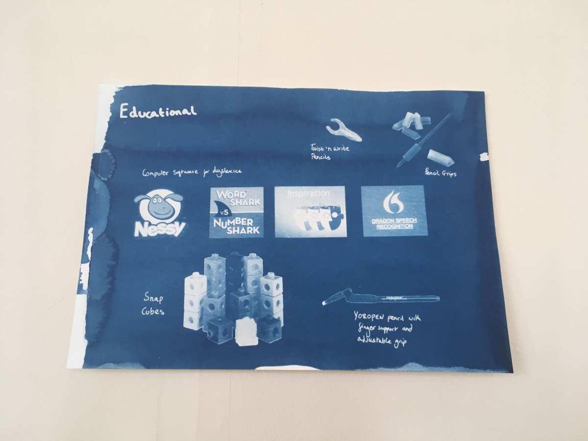 Educational cyanotype on paper